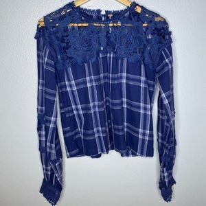 Free People Navy Plaid Open Lace Top